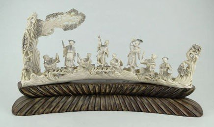 43: HUGE ANTIQUE CHINESE IVORY CARVING