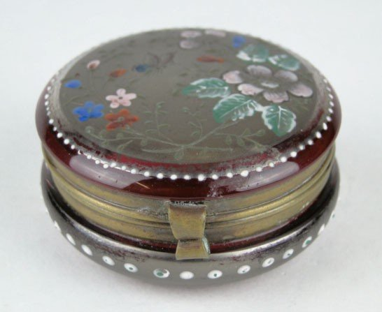 4: ANTIQUE MOSER CRANBERRY & STERLING ROUND BOX