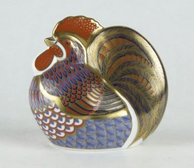"""23: ROYAL CROWN DERBY PAPERWEIGHT FIGURINE """"ROOSTER"""""""