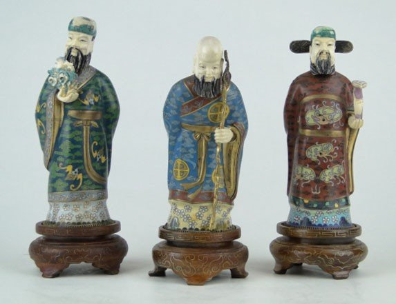 13: SET OF 3 CHINESE CLOISONNÉ & IVORY ELDERS