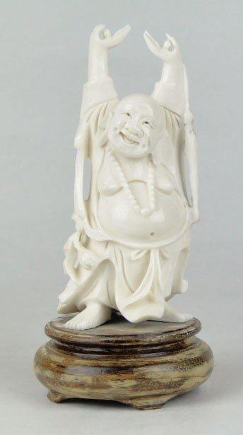 14: CARVED CHINESE IVORY HAPPY BUDDHA
