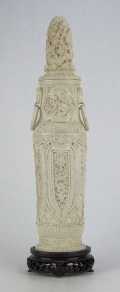 9: MONUMENTAL CHINESE CARVED IVORY COVERED VASE