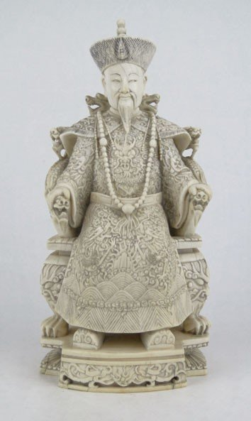 16: FABULOUS ANTIQUE CARVED IVORY CHINESE EMPEROR