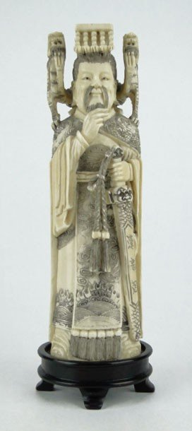 17: ANTIQUE CHINESE IVORY EMPEROR
