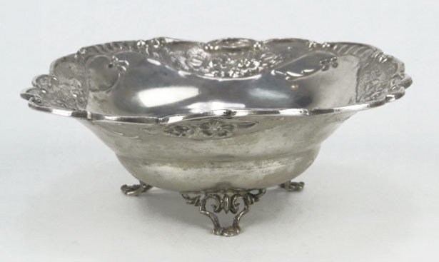 6: 900 STERLING SILVER ANTIQUE ROSE BOWL