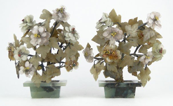 17: PAIR VINTAGE CHINESE JADE TREES