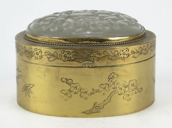 177: VTG CHINESE CARVED JADE AND BRASS DRESSER BOX