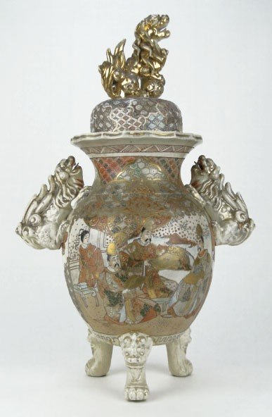 20: ANTIQUE SATSUMA STYLE EXPORT COVERED URN