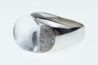 65: SUPERB 18KT WHITE GOLD DIAMOND & ROCK CRYSTAL RING - 2