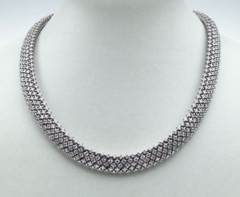 130: 14KT WHITE GOLD DIAMOND MULTI-ROW NECKLACE