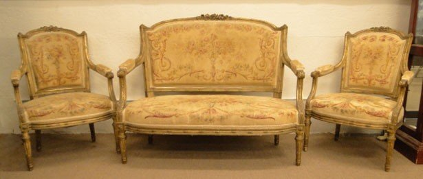 124: 19C FRENCH LOUIS XVI THREE (3) PC SALON SET