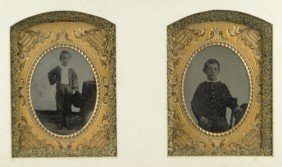 PAIR 19C TIN TYPE NICELY FRAMED