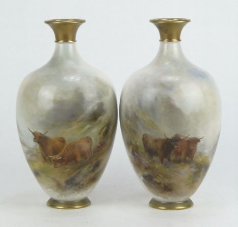 18: PAIR ROYAL WORCESTER  STINTON HIGHLAND CATTLE VASES