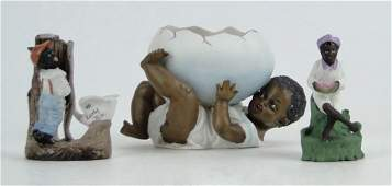 272 3 PIECES BISQUE PORCELAIN BLACK AMERICANA FIGURINE