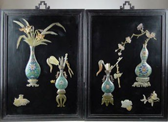 125: PAIR ANTIQUE CHINESE GEMSTONE PLAQUES