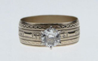 127: ANTIQUE 14KT ROSE GOLD AND DIAMOND WEDDING BAND