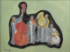 "MANE-KATZ (1894-1962) ""THE BAND"" OIL ON BOARD"