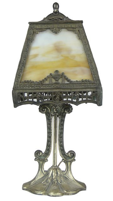 17: ANTIQUE SLAG GLASS BOUDOIR LAMP