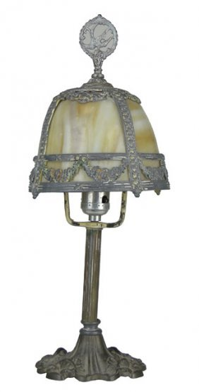 ML & CO SLAG GLASS BOUDOIR LAMP