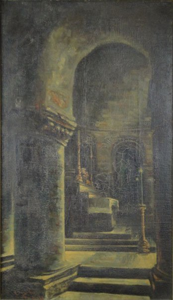 121: 19C OIL ON CANVAS ARCHES OF A CATHEDRAL