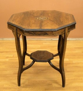 EARLY 20C ENGLISH EDWARDIAN INLAID ROSEWOOD TABLE