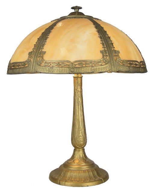 118: ANTIQUE SLAG GLASS LAMP