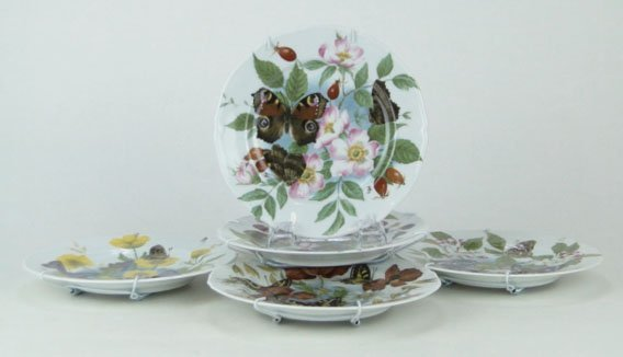 51: SIX (6) ROCHARD LIMOGES HAND PAINTED FLORAL & BUTTE