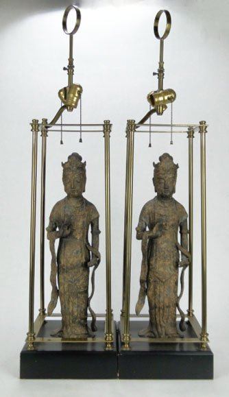 62: PAIR BRONZE ANTIQUE CHINESE IMMORTAL LAMPS