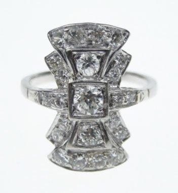 67: ANTIQUE PLATINUM & DIAMOND LADIES DINNER RING
