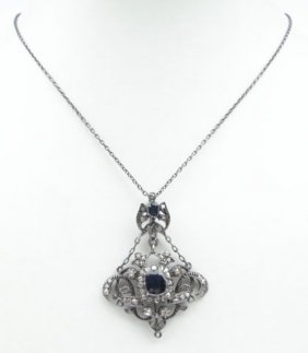 VICTORIAN STERLING SILVER & SAPPHIRE PENDANT
