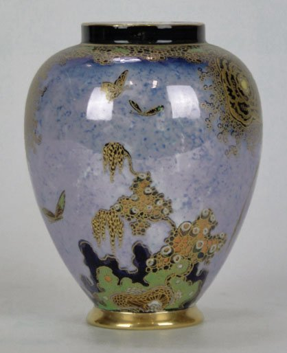 154: ANTIQUE CARLTON WARE BUTTERFLY LUSTER VASE - 2
