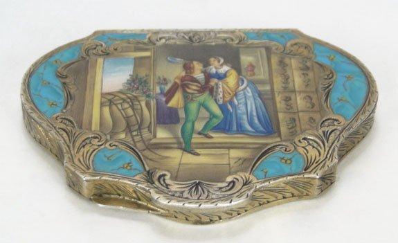 1: ANTIQUE ENAMELED CONTINENTAL LADIES COMPACT