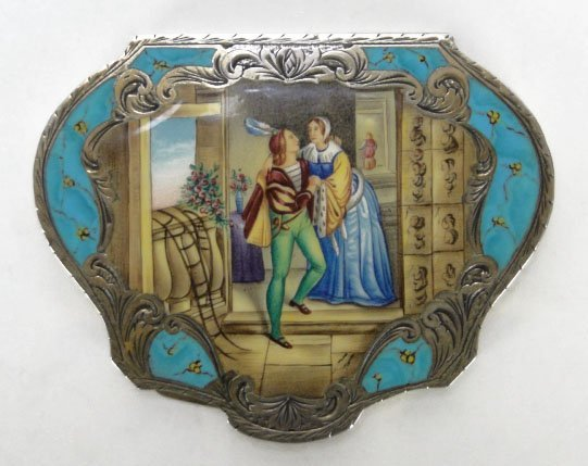 1: ANTIQUE ENAMELED CONTINENTAL LADIES COMPACT - 3