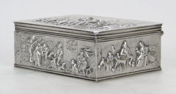3: ANTIQUE CONTINENTAL STERLING SILVER COVERED BOX