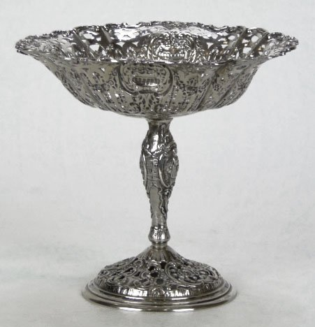 4: ANTIQUE ORNATE STERLING SILVER COMPOTE