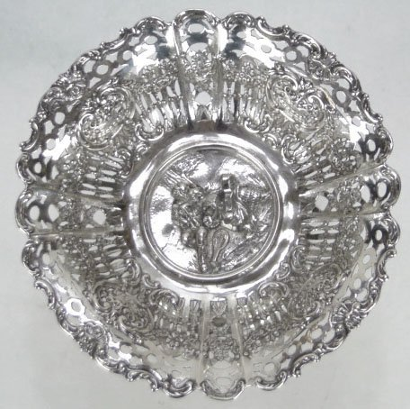 4: ANTIQUE ORNATE STERLING SILVER COMPOTE - 2