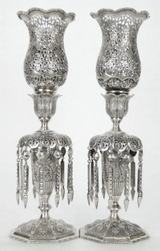 7: PAIR ANTIQUE LARGE PURE SILVER PERSIAN LAMPS