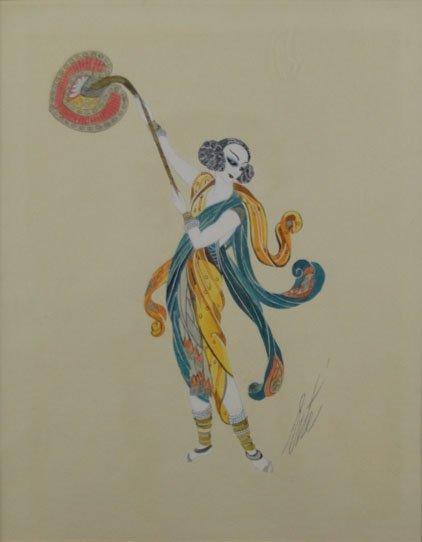 12: Erte, Russian (1892- 1990) GAUCHE, RARE FIND