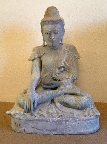 52: ANTIQUE ORIENTAL METAL SEATED BUDDHA