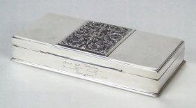 VINTAGE STERLING SILVER & SATIN WOOD SIAM BOX