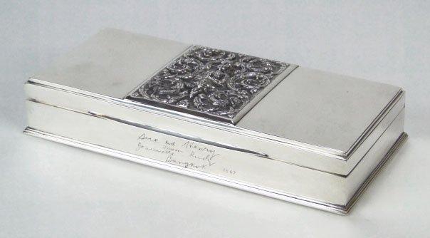 56: VINTAGE STERLING SILVER & SATIN WOOD SIAM BOX