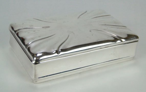 59: LARGE ANTIQUE STERLING COVERED BOX