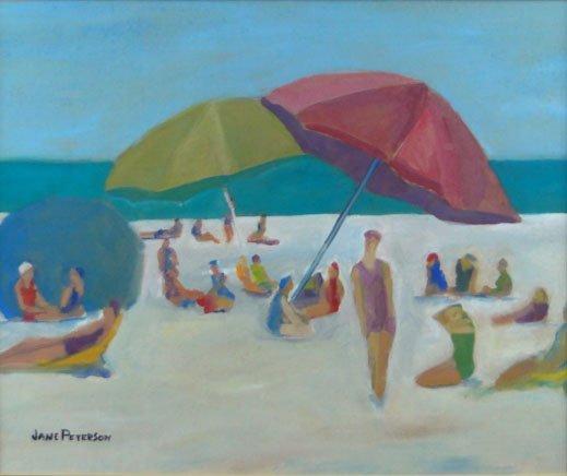 136: JANE PETERSON OIL ON BOARD BEACH SCENE