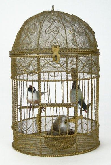 124: ANTIQUE FILIGREE BRASS BIRD CAGE WITH BIRDS