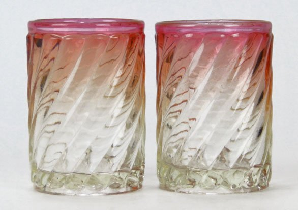 128: PAIR ANTIQUE BACCARAT CRYSTAL PINK TO CLEAR VANITY