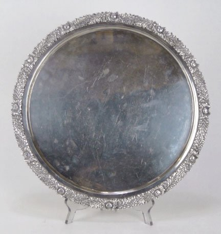 5A: TIFFANY STERLING SILVER HEAVY FOOTED TRAY