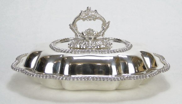 8: ANTIQUE ORNATE SILVER PLATED COVERED CASSEROLE