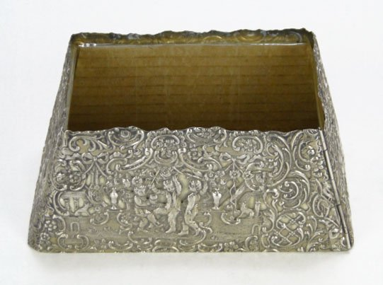 11: GERMAN SILVER OPEN WORK SCROLLED BOX - 2