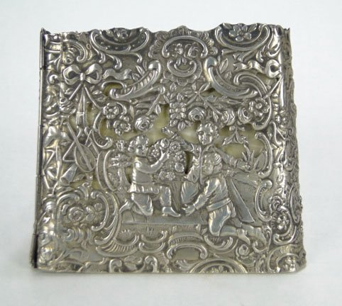 11: GERMAN SILVER OPEN WORK SCROLLED BOX - 4