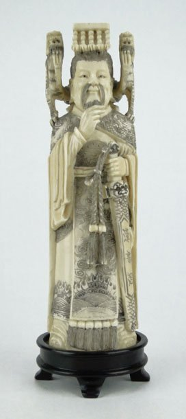 14: ANTIQUE LARGE CHINESE IVORY EMPEROR